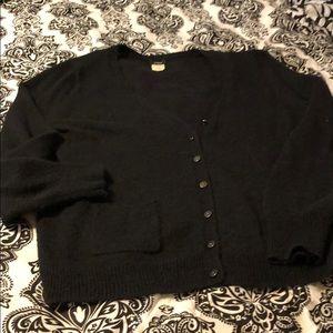 J Crew wool blend black thin cardigan L